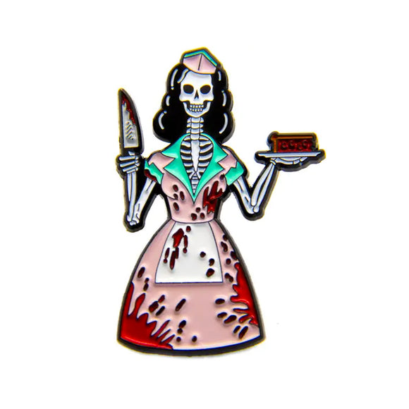 50's Blood Skeleton Waitress Enamel Pin