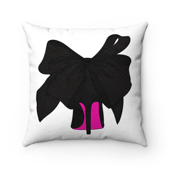 Black Shoe with Hot Pink bottom Faux Suede Square Pillow