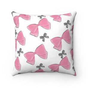 Pink and Striped Bows Square Pillow