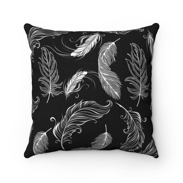 White Feathers on Black Square Pillow