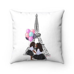 Mommy and Me Take Paris Square Pillow