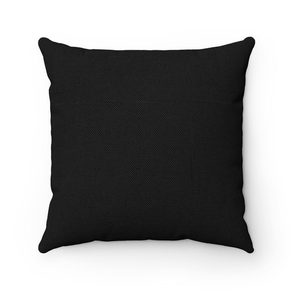 Pink Lips on Black Square Pillow