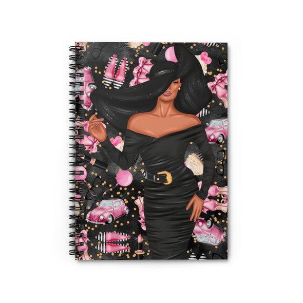 Big Hat Lady Ruled Line Notebook (black background)