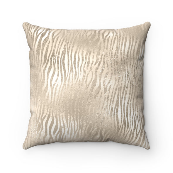 Champagne Tiger Stripes Square Pillow