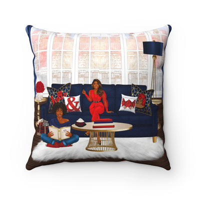 Navy & Red Scene Square Pillow