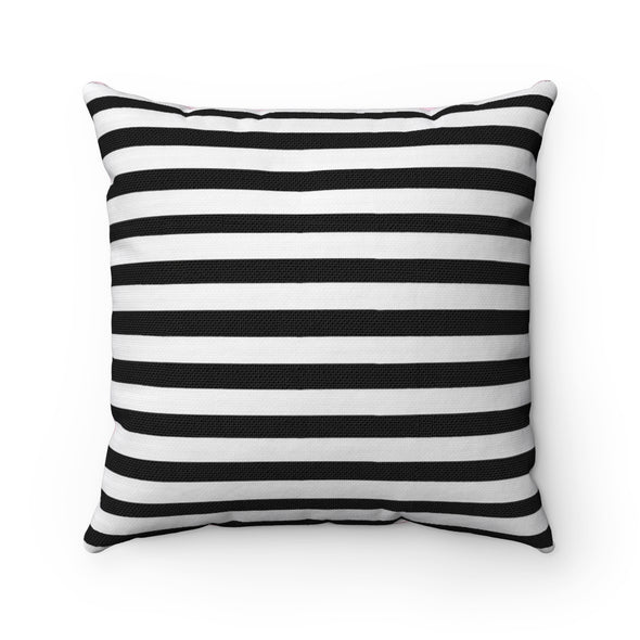 Black and White Striped Square Pillow
