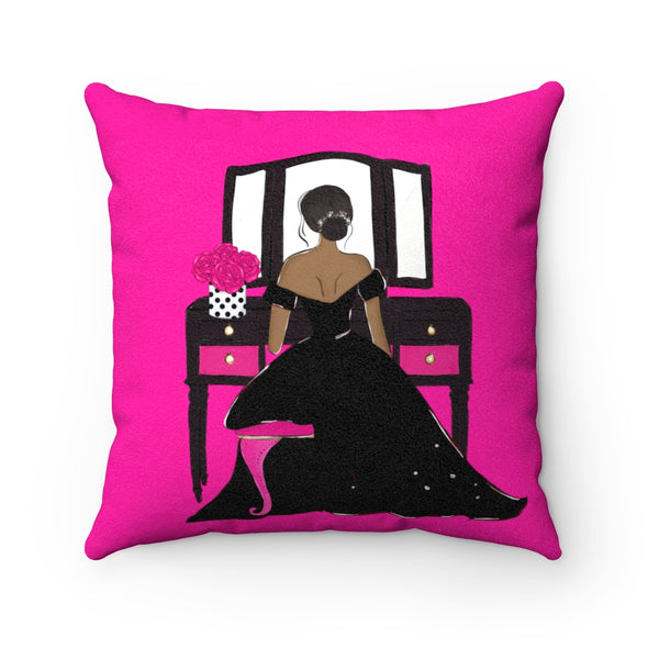 Woman at Vanity Faux Suede Square Pillow