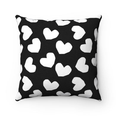 Black and White Heart Print Square Pillow