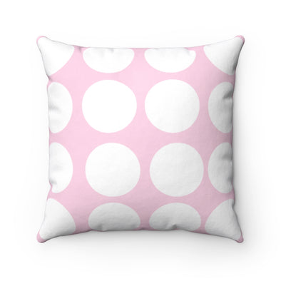 Pink and White Polka Dot Spun Polyester Square Pillow
