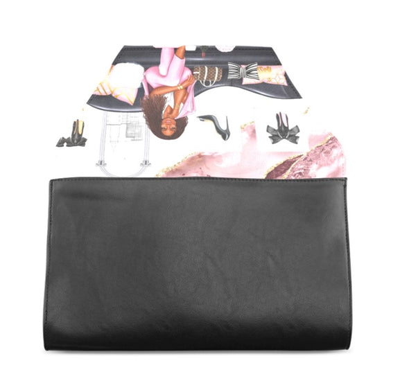 Faux Leather Fold over Clutch with Scene