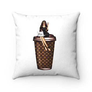 Fashion Boss and Coffee Faux Suede Square Pillow