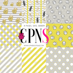 YELLOW AND GRAY WARDROBE DIGITAL PAPER