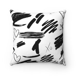 Ebony and Ivory Abstract Square Pillow