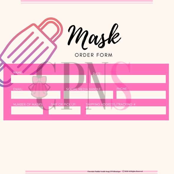 Mask Order Form & Terms and Conditions Download