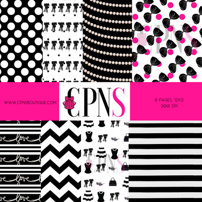 MICHELLE'S CLOSET B&W DIGITAL PAPER