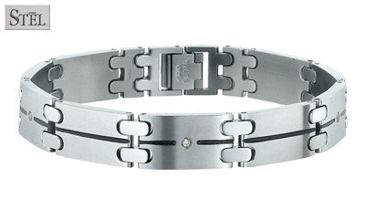 Mens Stainless Steel Link Style Bracelet with Diamond Accent by Stel