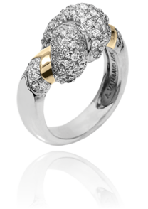 "Playful ""Love Knot"" Pave Diamond Ring in 14k Yellow Gold and Sterling Silver by Vahan"