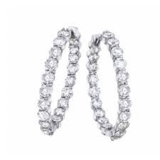 "Stunning ""Inside-Outside"" Diamond Hoop Earrings in 18k White Gold featured at Teels Jewelry"
