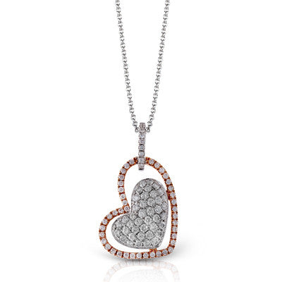 Double Heart 18k White and Rose Gold Pave Diamond Pendant by Simon G.