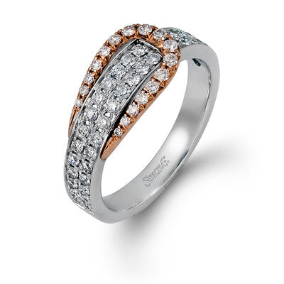 "18k White and Rose Gold Pave Diamond ""Buckle"" Ring by Simon G"