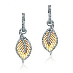 Lovely 18k White and Yellow Gold Pave Leaf Design Earrings by Simon G.