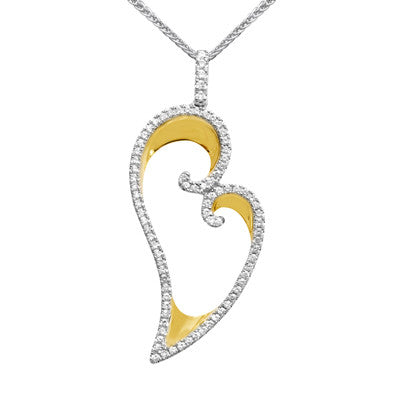 Lovely 18k Yellow and White Gold Pave Diamond Heart Pendant by Simon G.