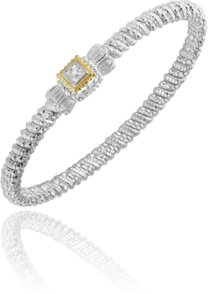 Classy Pave Diamond Bracelet by Vahan in 14k yellow gold and sterling silver