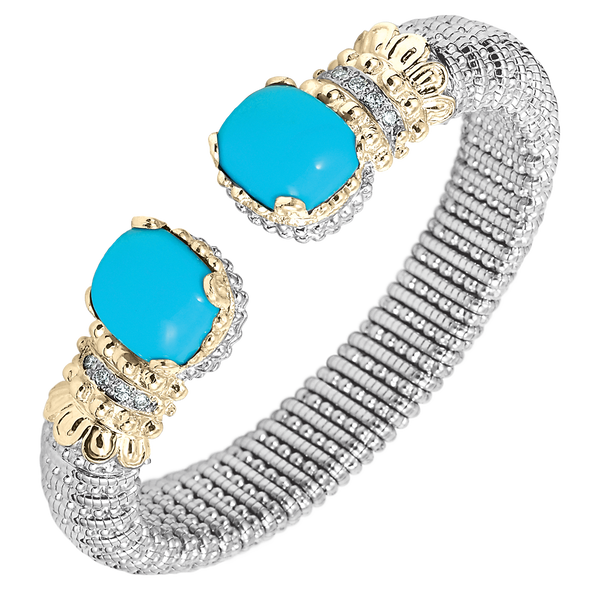 Silky Smooth Turquoise Diamond Cuff Bracelet by Vahan