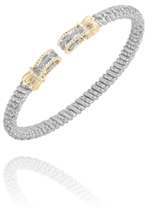 Chic Cuff Style Bracelet with Diamonds in 14k Yellow Gold and Sterling Silver by Vahan