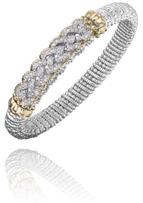 Interlaced Design Diamond Bracelet in 14k Yellow Gold and Sterling Silver by Vahan
