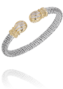 Graceful Spherical Diamond Swirl Cuff Style Bracelet by Vahan
