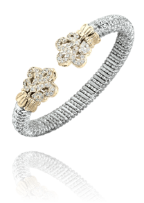 Fleur De Lys Diamond Cuff Style Bracelet in 14k Yellow Gold and Sterling Silver by Vahan