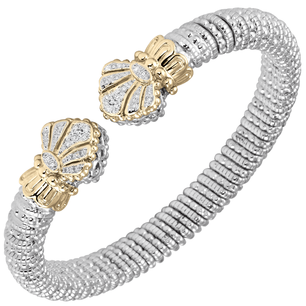 9389b8d68e6eeb Fan Diamond Cuff Design in 14kt Yellow Gold and Sterling Silver by Vahan