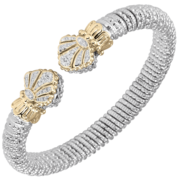 Fan Diamond Cuff Design in 14kt Yellow Gold and Sterling Silver by Vahan