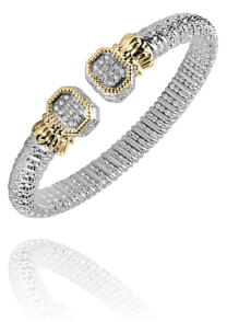 Diamond End Cuff in 14k Yellow Gold and Sterling Silver by Vahan