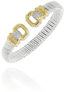 Classy Sterling Silver and 14k Gold Diamond Cuff by Vahan