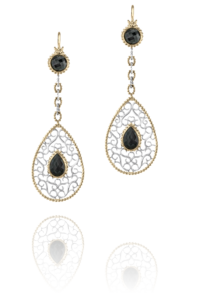 Fine Dangle Onyx Earrings in 14k Yellow Gold and Sterling Silver by Vahan