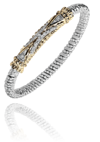 "Chic Sterling Silver and 14k Gold ""Arrow"" Bracelet in 4mm by Vahan"