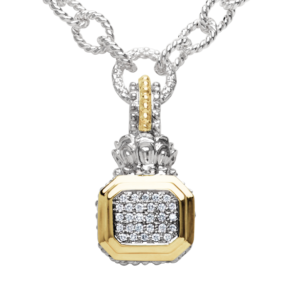 Stylish Silver and Gold Diamond Pendant by Vahan