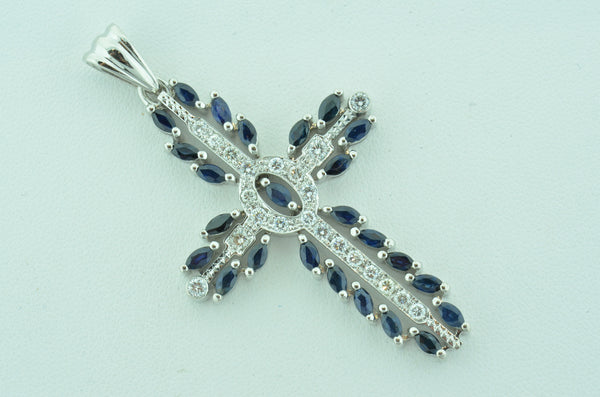 Diamond and Marquise Sapphire Custom Cross by Teel's Jewelry