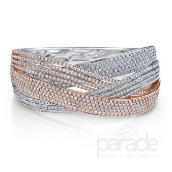 Magnificent 18k White and Rose Gold Pave Diamond Cuff by Parade