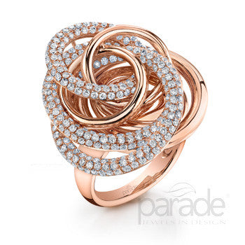 Swirling 18k Rose Gold and Pave Diamond Ring by Parade