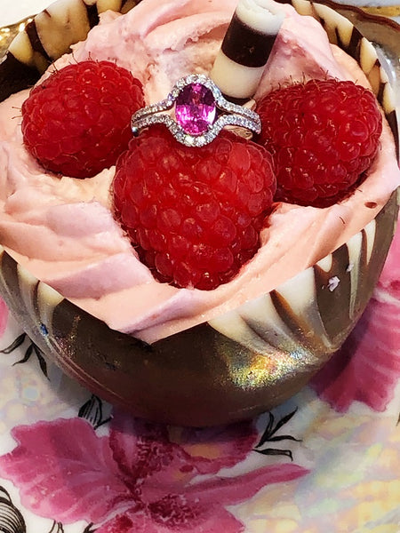 Custom Pink Sapphire Diamond Ring by Teel's Jewelry