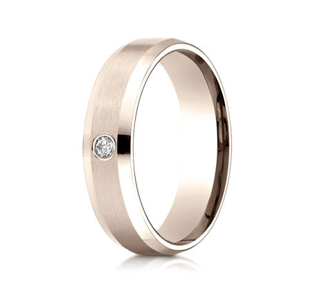 Rose Gold Mens Band with a Round Brilliant Diamond by Benchmark