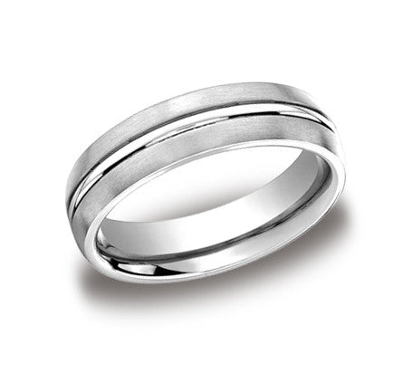 Classic Mens Band with a Single Polished Groove and Satin Finish by Benchmark