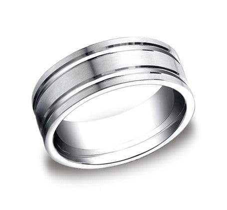 8mm Satin Finished Wide Band with Polished Grooves by Benchmark