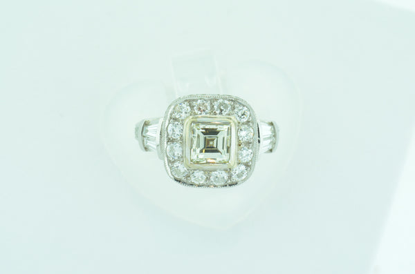 Elegant 18k White Gold Asscher Diamond Ring by Teel's Jewelry