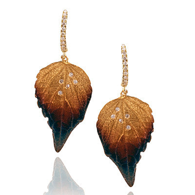 Diamond Dew Drop Yellow Gold Leaf Design Earrings by Simon G.