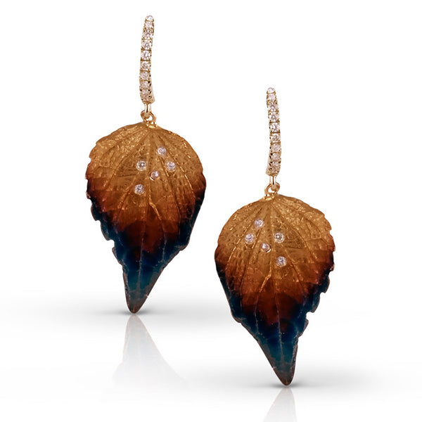 Organic 18k Yellow, Rose, and Brown Leaf Earrings with Diamonds by Simon G.