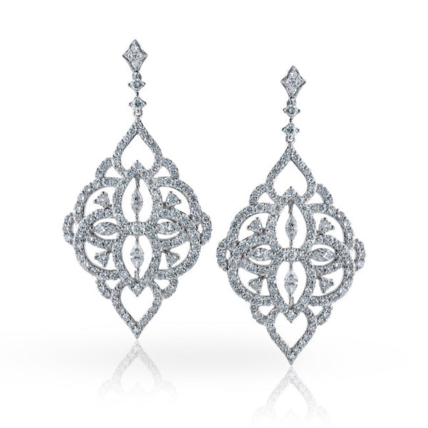 Exquisite Couture Diamond Dangle Earrings Designed by Simon G.